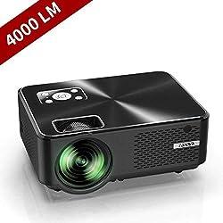 Vidéoprojecteur, YABER Mini Projecteur Portable 4000 Lumens Résolution Native 1280*720p, Retroprojecteur avec Haut-parleurs Stéréo HiFi, Couvercle en Métal, Supporte HDMI / USB / VGA / AV