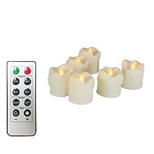 Flammenlose Kerzen, realistische und helle, flackernde LED-Teeleuchten batteriebetrieben, 200 Stunden nonstop Arbeiten mit 2/4/6/8 Stunden Timer und 10-Tasten-Fernbedienung, Set von 6 Cream Dripping Electric Kerzen Dekorationen für Hochzeit, Weihnachten, Parties und Romantik