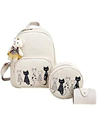 Alice Fashion Girls 3-PCS Fashion Cute Mini Leather Backpack sling & pouch set for Women