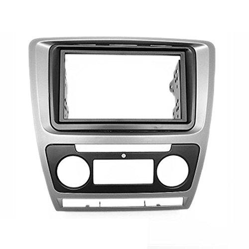 carav 11-258 Doppel DIN Autoradio Radioblende DVD Dash Installation Kit für Octavia 2008-2013 (Auto Klimaanlage) grau Faszie mit 173 * 98 mm und 178 * 100 mm Aftermarket Radio Installation