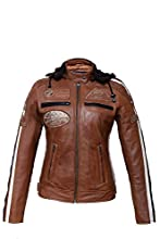 Urban Leather 58 Veste de Moto avec Protections - Femme - TAN - L/42