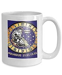 Idea Regalo - Tazza da caffè Tazza da tè Tazza acquario zodiaco Oroscopo cerchio dai capelli lunghi maschio si siede versando acqua fuori vaso 10z