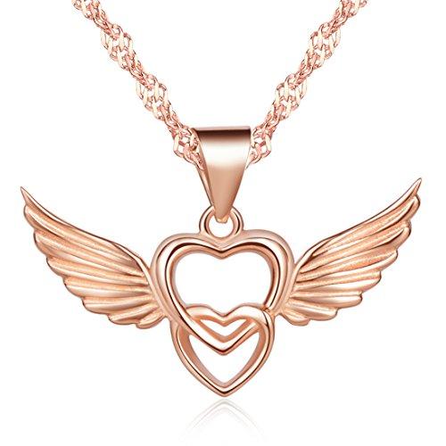 Unendlich U Klassisch Damen Halskette Doppel Herzen Engelsflügel Anhänger Rosegold 925 Sterling Silber Kettenanhänger