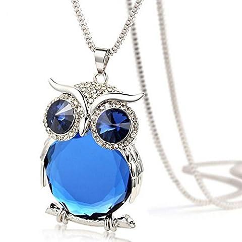 LHWY Women's Elegant Owl Pendant Diamond Sweater Chain Long Necklace Jewelry for Girls (Blue)