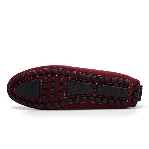 Baymate Confort Mocassins Homme - Loafers Désinvolte - Chaussures Bateau Vin Rouge