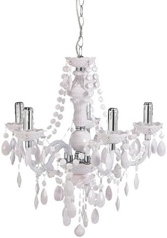 Reality Leuchten Kronleuchter Lüster 5-flammig / aus weißem Acryl / 5x E14 maximal 40 W ohne Leuchtmittel / ø: 52 cm R1107-01
