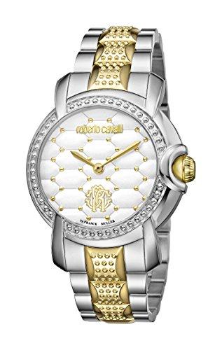Roberto Cavalli: para mujer dos tonos plata/dorado reloj con esfera blanca