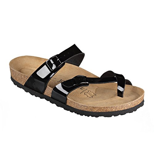 JOE N JOYCE Milano SynSoft semelle souple sandales normalement Black Patent