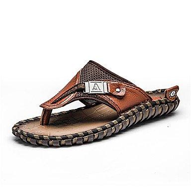 Slippers & amp da uomo;Comfort PU Estate Outdoor piatto tallone Brown Sandali nero camminare sandali US10 / EU43 / UK9 / CN44