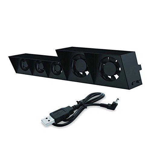 Zerich Ventola di Raffreddamento di PS4, USB Esterno più Fresco 5 Ventilatore Turbo Temperatura Controllo ventole di Raffreddamento per Playstation4 PS4 Gaming Console (Nero) #81199