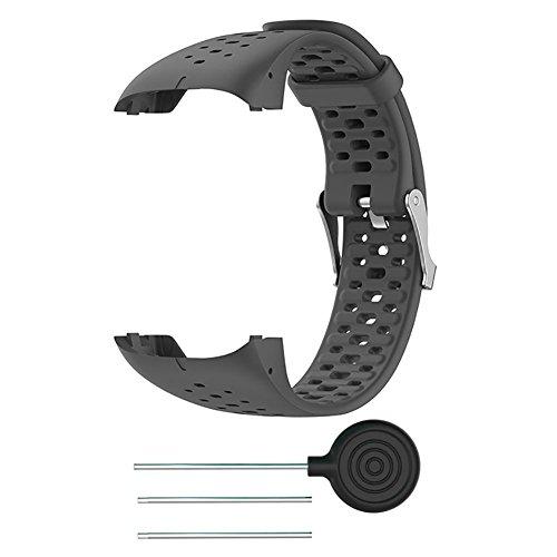 FOONEE - Correa de Silicona para Reloj Polar M400 M430, Correa de Reloj de Pulsera de Repuesto para Polar M400 M430 GPS Running Smart Sports Watch, Gris