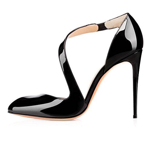 10cm D'orsay Schuhe Pumps Heels Stiletto Faschion High amp;two Knöchelriemchen piece Damen Schwarz Kolnoo aEwHqxXE