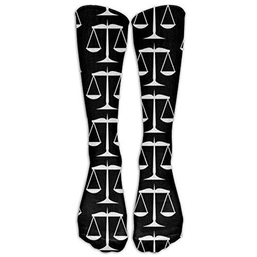 Justice On White Compression Socks for Women and Men - Best Medical, Nursing, Travel & Flight Socks Size ()