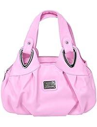 TOOGOO(R) Fashion Handbag Women PU Leather Bag Tote Bag Handbags Satchel -Matte Pink