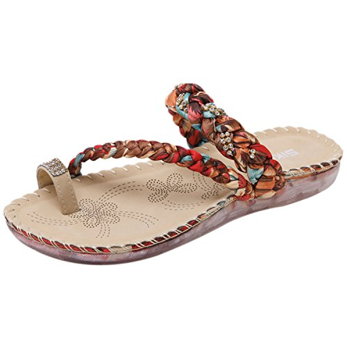 Azbro Women's Fashion Bohemian Toe Ring Thong Sandals Coffee