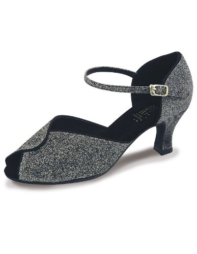 Sylvia-Chaussures de danses de salon Roch Valley Noir/Brocart argent