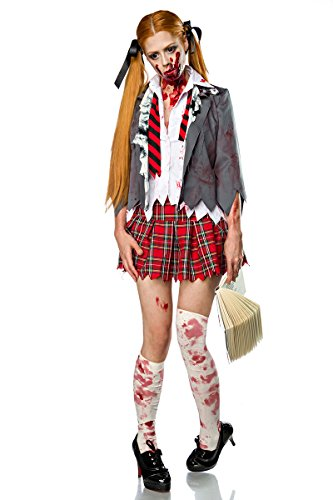 Damen Zombie Schoolgirl Schulmädchen Verkleidung Kostüm aus Bluse, Rock, Krawatte, Jacke, Stockings XL (Schulmädchen Kostüme Zombie)