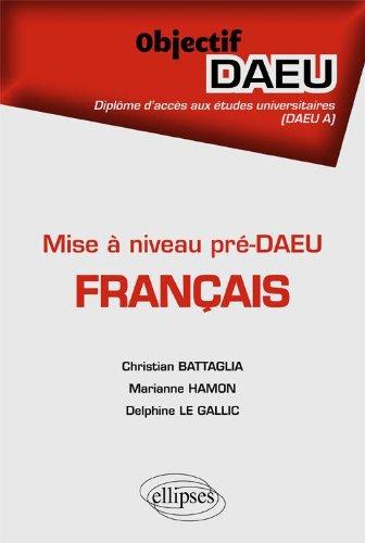 Français Objectif Pré-DAEU A Mise à Niveau