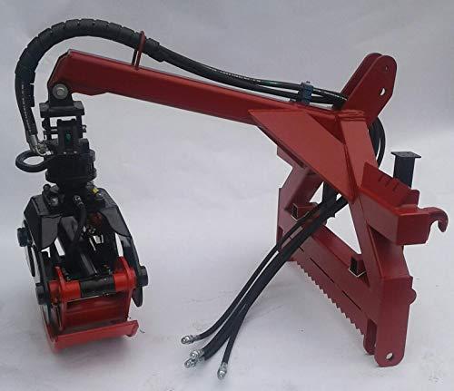 Joma Tech Kombianbaurahmen mit Euro- und 3-Punkt Aufnahme KAT 2 mit Forstgreifer pro Line aus Hardox Öffnungsweite 1250mm mit Rotator und Kardangelenk (mit 3to. Rotator & Umschaltvenitl)