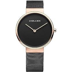 Angela Bos Men's Ultra Thin Simple Stainless Steel Quartz Wrist Watch for Men 8010 Black