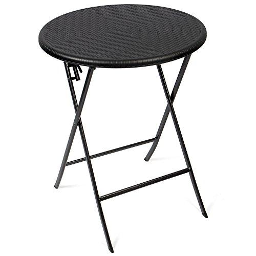 Vanage Beistelltisch in schwarz - runder Gartentisch in Rattanoptik - Kunststofftisch für Garten, Terrasse und Balkon geeignet - Bistrotisch mit Stahlgestell