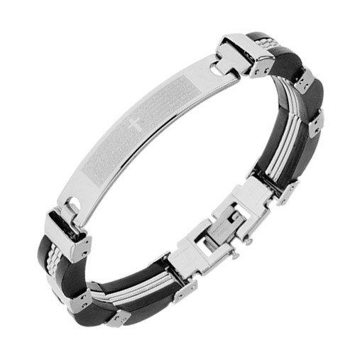 Dame Gebet (ORDOŠ Diamonds® Stahlarmband, Herren, Damen, Gebet am Armband, Kreuz, glatt Stahlglieder, schwarz Gummiglieder, 200mm)