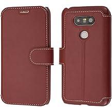 Coque LG G5, Mobest Étui Housse en Cuir LG G5, Portefeuille LG G5, Languette Magnétique Coque de Protection avec emplacement de cartes Option Stand Pour LG G5 Coque Cuir - Rouge