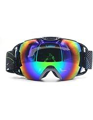 Profesional UV protección antiniebla anti-viento doble capa lentes gafas de esquí Snowboard Skate Unisex claridad visión gafas de esquí (Piel de serpiente)
