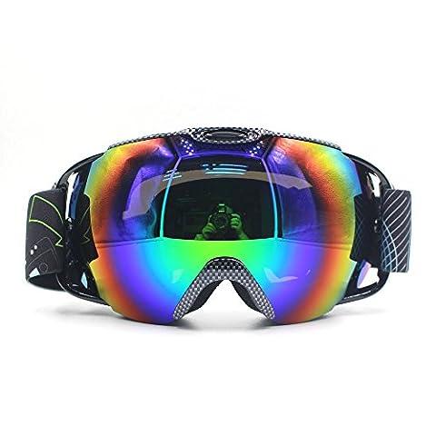 Professionnelle Protection anti-buée anti-vent double couche lentille UV masques de ski Snowboard Skate, clarté unisexe (Nero Piano Telaio)