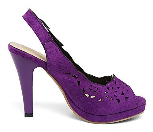YE Damen Peep Toe High Heels Slingback Pumps mit Plateau und Lochmuster 10cm Absatz Sommer Sandalen Schuhe Lila