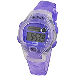 Gleader LCD Digital Display Stopwatch Clear Purple Sports Watch