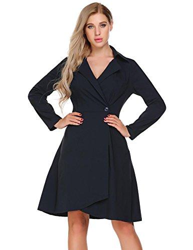 Damen Vintage Trenchcoat mit V-Ausschnitt Abendkleid 50er Retro Kleid Cocktailkleid Hemdkleid Mantel