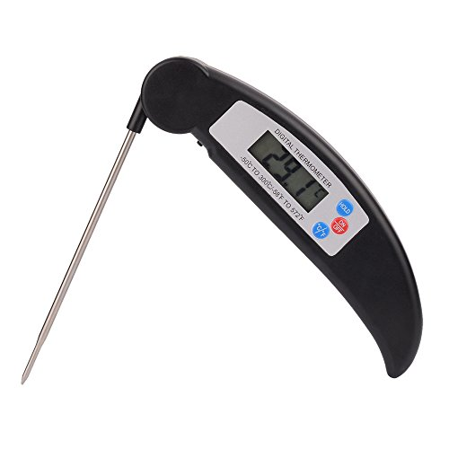 TFENG BBQ Thermometer Grillthermometer, Digital LCD Bildschirm Küchenthermometer, klappbar Korrosionsschutz Einstichthermometer