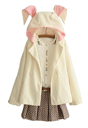 hqclothingbox Women's Cute Button Down Tweed Cat Ears Hooded Cape (Sleeve Long Womens Chicago)