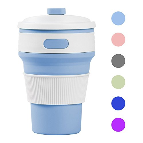 Collapsible Coffee Cup, Bomien Food Grade Silicone Safety Healthy-Lightweight Portable Folded Travel Free Coffee Mug Suitable For Coffee Milk Tea Hot Water Drinks 350mL 41br 7u0l8L