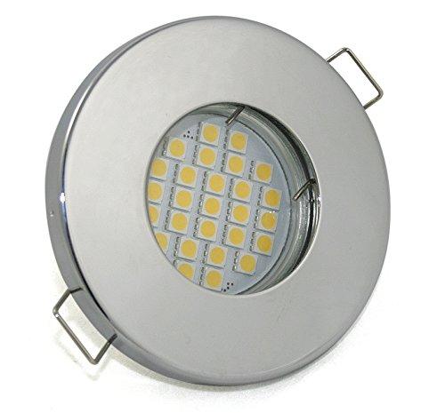 Set di Bagno luce incasso IP65, colore: Cromato/5,5Watt-480-Lampadina a LED bianco caldo GU10230V/per doccia/bagno/sauna, Tettoia, cantina uvm...