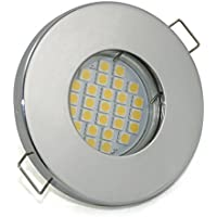 Set di Bagno luce incasso IP65, colore: Cromato/5,5Watt–480–Lampadina a LED bianco caldo GU10230V/per doccia/bagno/sauna, Tettoia, cantina uvm...
