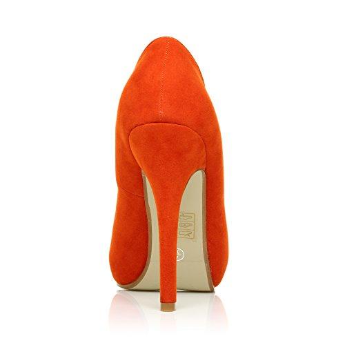 TIA - Pumps Orange Violett Kunstwildleder Stilettos Mit Plateau Und Hohem Absatz Orange Wildleder