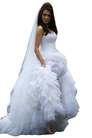 HotGirls Women Luxury Sweetheart Asymmetrical Wedding Dress High Low Ruffles Bridal Gowns (UK8,