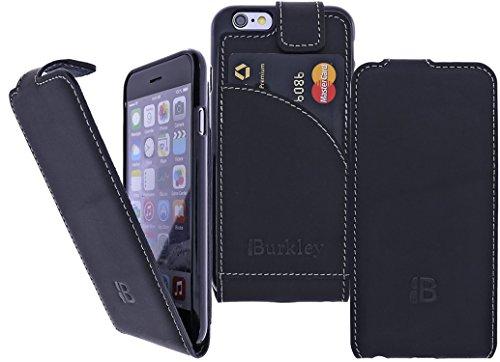 Burkley Apple iPhone 6 / iPhone 6S Hülle | Tasche | Lederhülle | Handyhülle | Ledertasche | Handytasche | Schutzhülle | Flip Cover | Case mit bruchfester Innenschale und Kartenfach (Sattel Braun) Schwarz