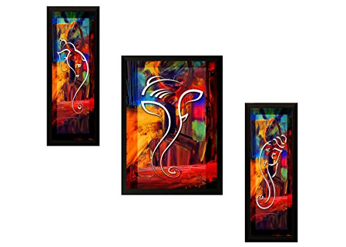 SAF 'Ganesh' Framed Painting (Synthetic, 35 cm x 2 cm x 50 cm, Modern Art Wood, Set of 3, SANFSAS7500)