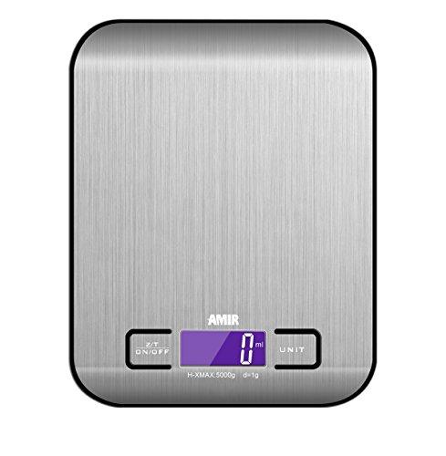 Amir Digitale Küchenwaage,Küchenwaage, Briefwaage, Hohe Präzision auf bis zu 1g (5kg Maximalgewicht), Tara-Funktion, mit 1-g-genauer Teilung und Großem LCD-Display, Inkl. Batterie (Schwarz)