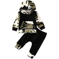 ropa bebe niño otoño invierno 2017 Switchali Infantil recien nacido Bebé Niño Tapas encapuchadas manga larga Camisetas Camuflaje blusas + Pantalones largos Conjuntos de ropa (100 (12~18meses), Negro)