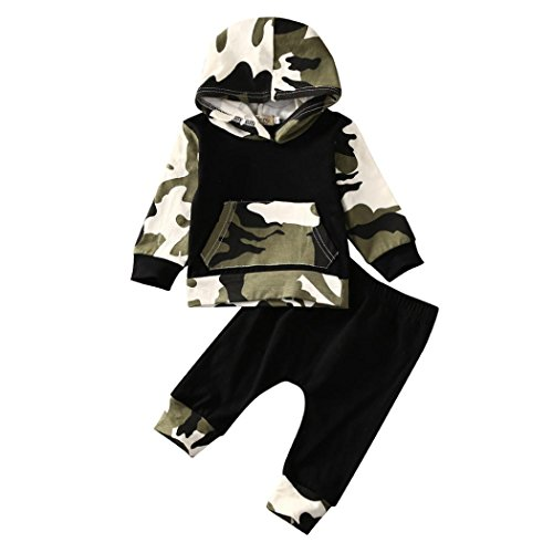 ropa bebe niño otoño invierno 2017 Switchali Infantil recien nacido Bebé Niño Tapas encapuchadas manga larga Camisetas Camuflaje blusas + Pantalones largos Conjuntos de ropa (70 (0~3meses), Negro)
