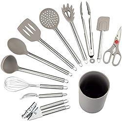 NEXGADGET Lot d'Ustensiles de Cuisine en Nylon, 12 Pièces Set d'Ustensiles de Cuisine Antiadhésif, Haute Qualité Ensemble d'Accessoires de Cuisine pour la Cuisson, Support Inclus