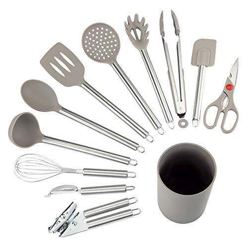 COMLIFE Küchenhelfer Set, 12-teiliges Küchenzubehör Kochgeschirr Set aus Edelstahl & Silikon, Küchenutensilien Inkl. Zange, Löffel, Schneebesen, Dosenöffner, Schäler, Wender, Schaber, Halter