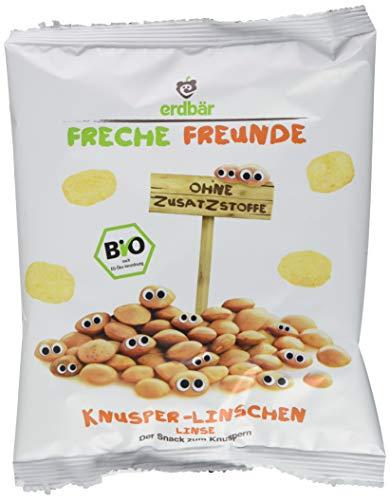 """Freche Freunde Bio Knabberzeug für Kinder, 100% Linse """"Knusper Linschen"""", gepuffte Bio-Linsen, ohne Zusatzstoffe, vegan, 20er Pack (20 x 25g)"""