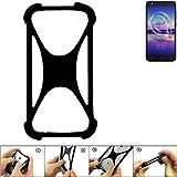 K-S-Trade Handyhülle für Alcatel U5 HD Single SIM Schutz Hülle Silikon Bumper Cover Case Silikoncase TPU Softcase Schutzhülle Smartphone Stoßschutz, schwarz (1x)