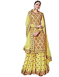 YELLOW COLOUR GEORGETTE FABRIC EMBROIDERED SHARARA SUIT