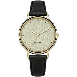 Fiorelli Women's Quartz Watch with Gold Dial Analogue Display and Black Leather Strap FO010BG